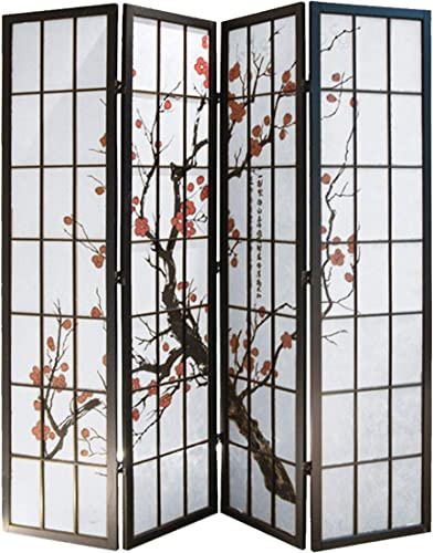 Screen Gems Shoji 4 Panel Screen Room Divider, 4panels, Black