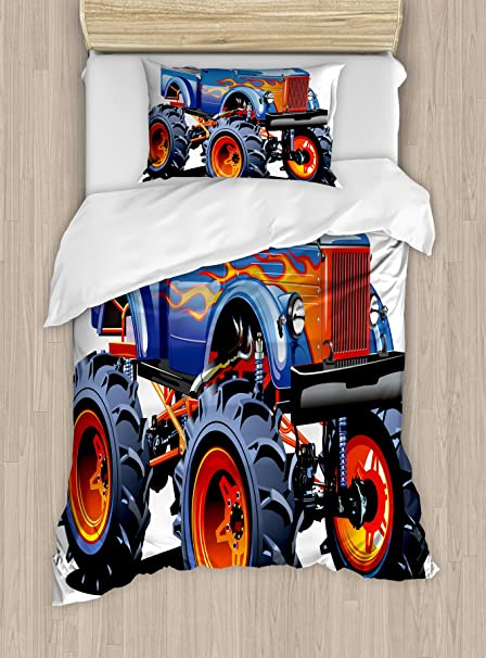 Man Cave Decor Duvet Cover Set by Ambesonne, Cartoon Monster Truck Huge Tyres Off-