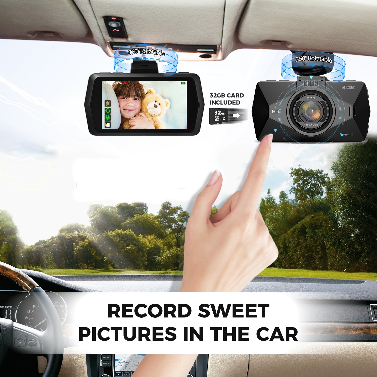 Dash Cam, SEYDI F1 Car Camera : 2.7'' Screen 2K Full HD 1296p Dashboard Camera, 170° Wide Angle, DVR, Parking Mode, WDR Night Vision, GPS, G-Sensor, 32G card, CPL Filter, Suction Cup Mount