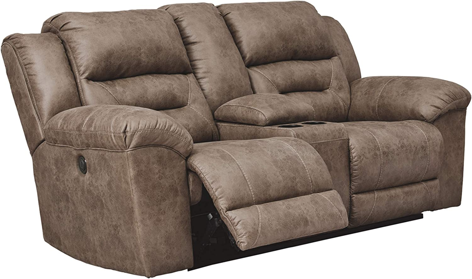 Signature Design by Ashley - Stoneland Faux Leather Double Power Reclining Loveseat with Console, Light Brown