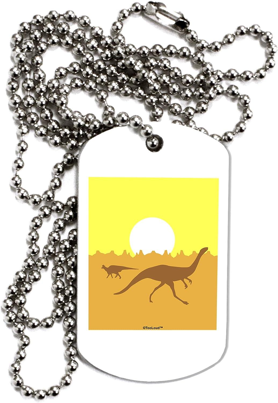 TOOLOUD Jurassic Dinosaur Sunrise Adult Dog Tag Chain Necklace