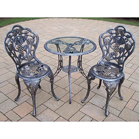 Oakland Living Vineyard Cast Aluminum 24-Inch Glass Top Table with 3-Piece Bistro Set, Antique Pewter
