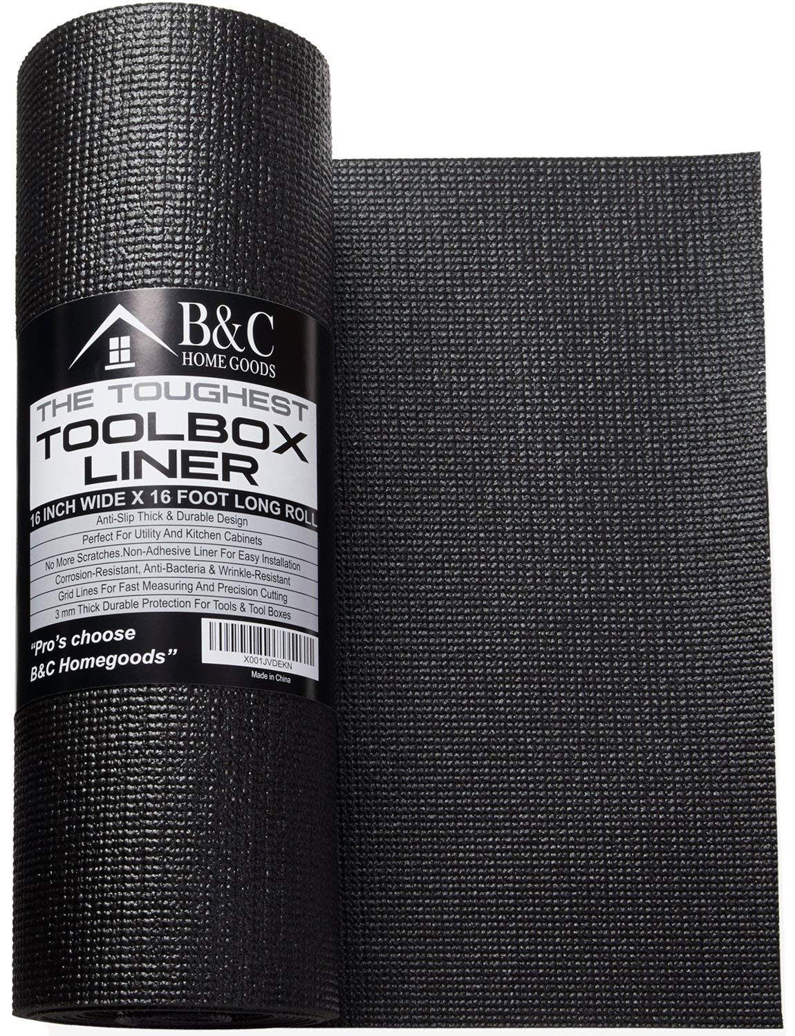 Professional Tool Box Liner and Drawer Liner - Black 16 inch x 16 feet Non-Slip Shelf Liner Is Perfect for Protecting Your Tools - These Thick Cabinet Liners Are Easily Adjustable to Fit Any Space by B&C Home Goods