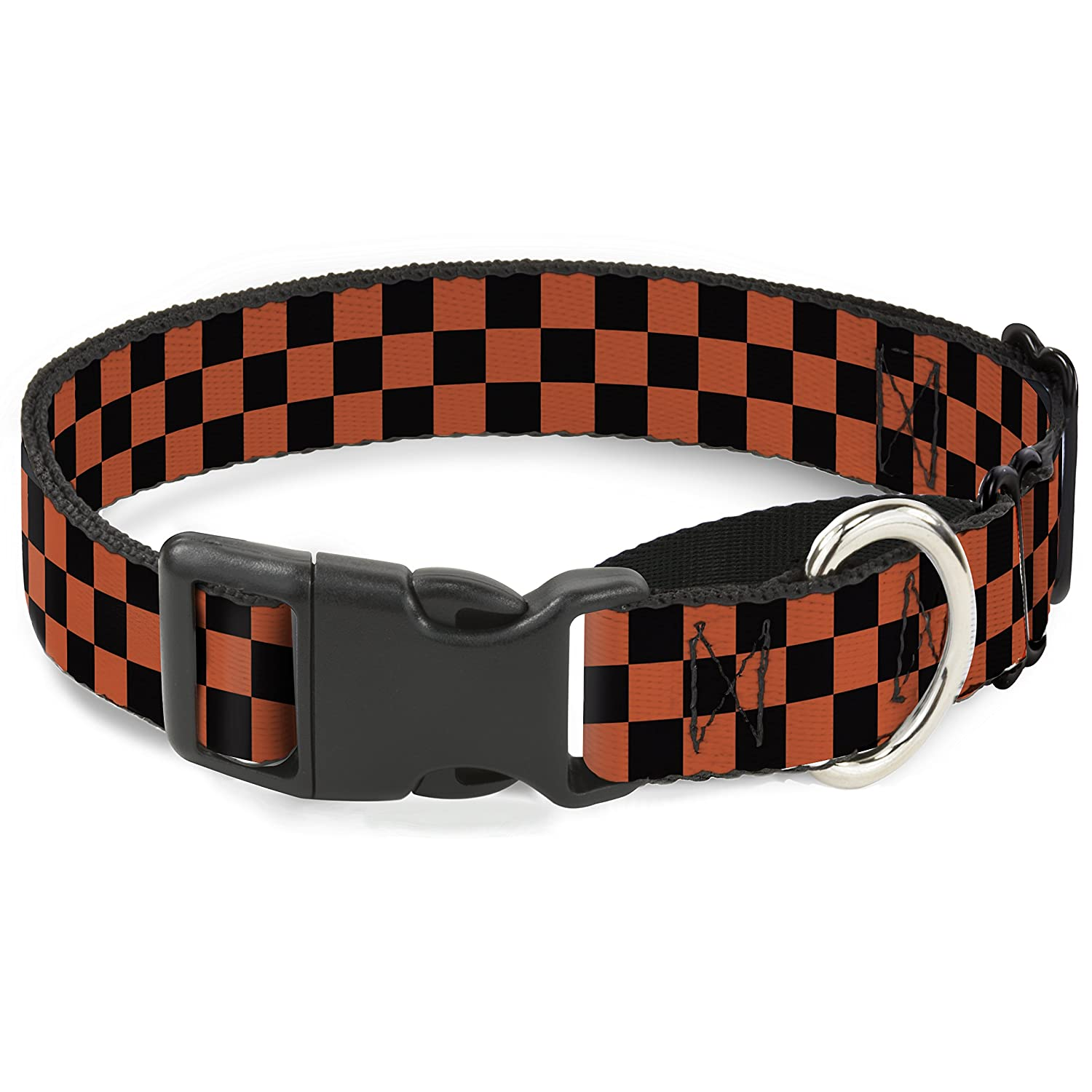 Buckle-Down Checker Black orange Martingale Dog Collar, 1  Wide-Fits 11-17  Neck-Medium