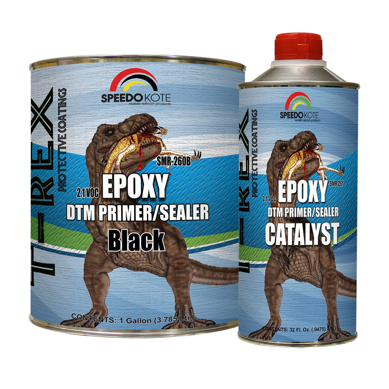 Speedokote Epoxy Fast Dry 2.1 Low voc DTM Primer & Sealer Black Gallon Kit, SMR-260B/261 by Speedokote