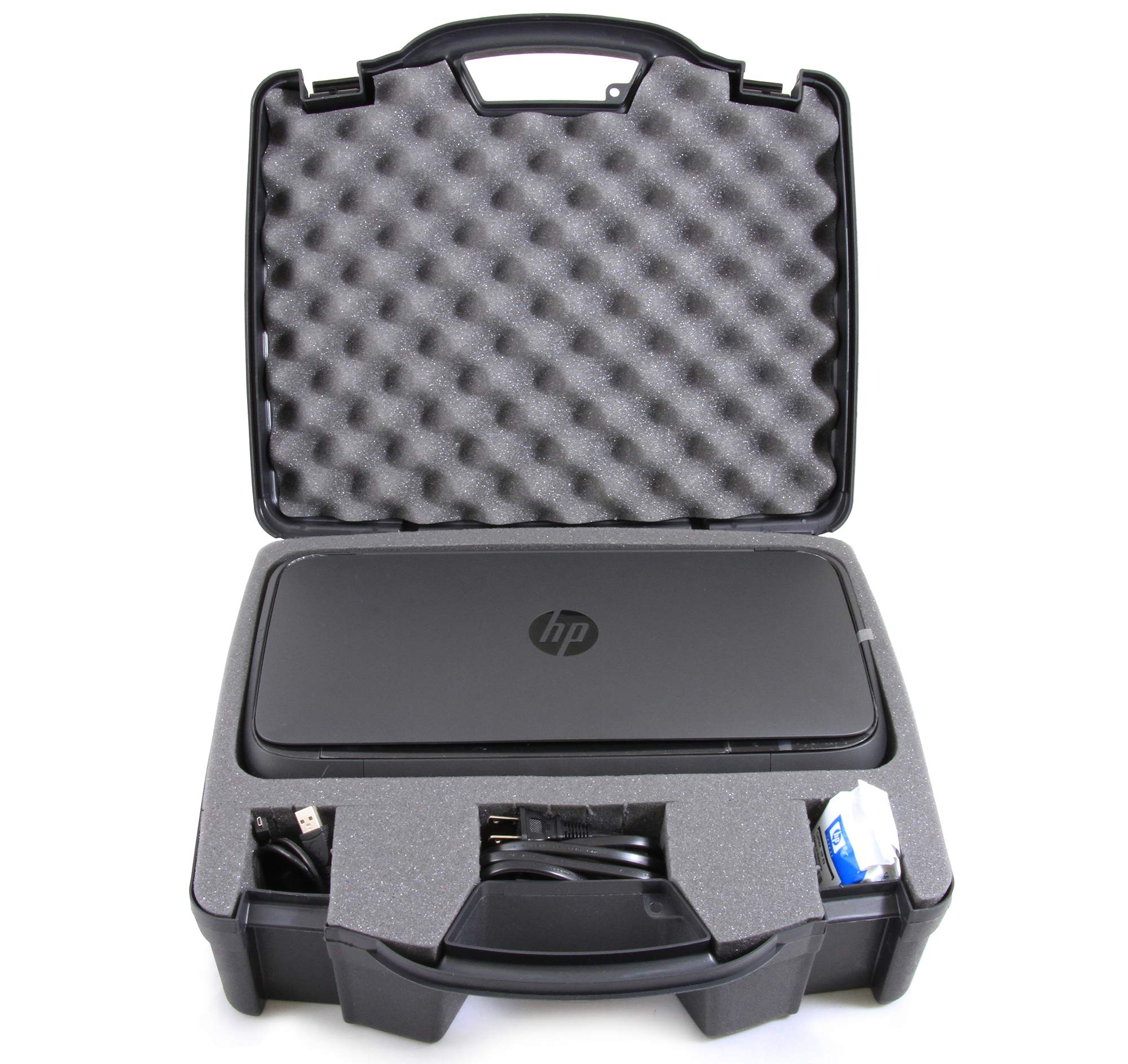 Casematix Portable Printer Carry Case for HP Officejet 250 Wireless Mobile Printer, Ink Cartridges and Power Cable (HP 250)