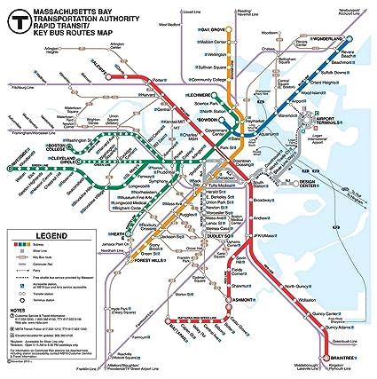 Boston MBTA Subway Train Map Tapestry - Massachusetts Bay Wall ...