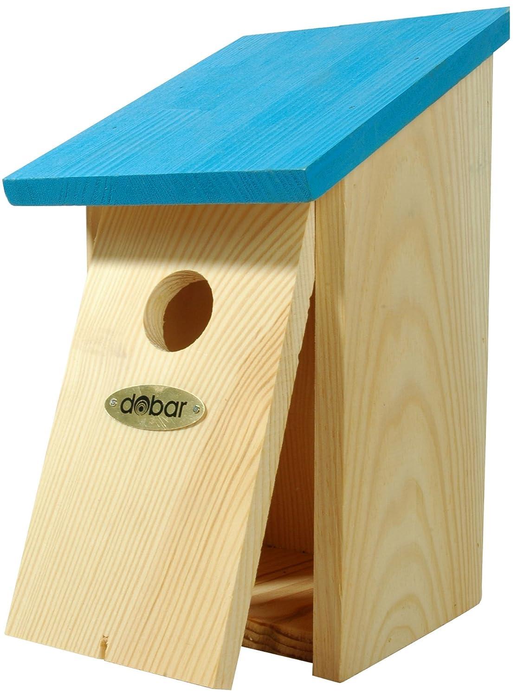 dobar Dekorativer Vogelhaus Nistkasten für Wildvögel zum Aufhängen aus Holz (Kiefer), Nisthilfe mit farbigem Dach orange 37023e
