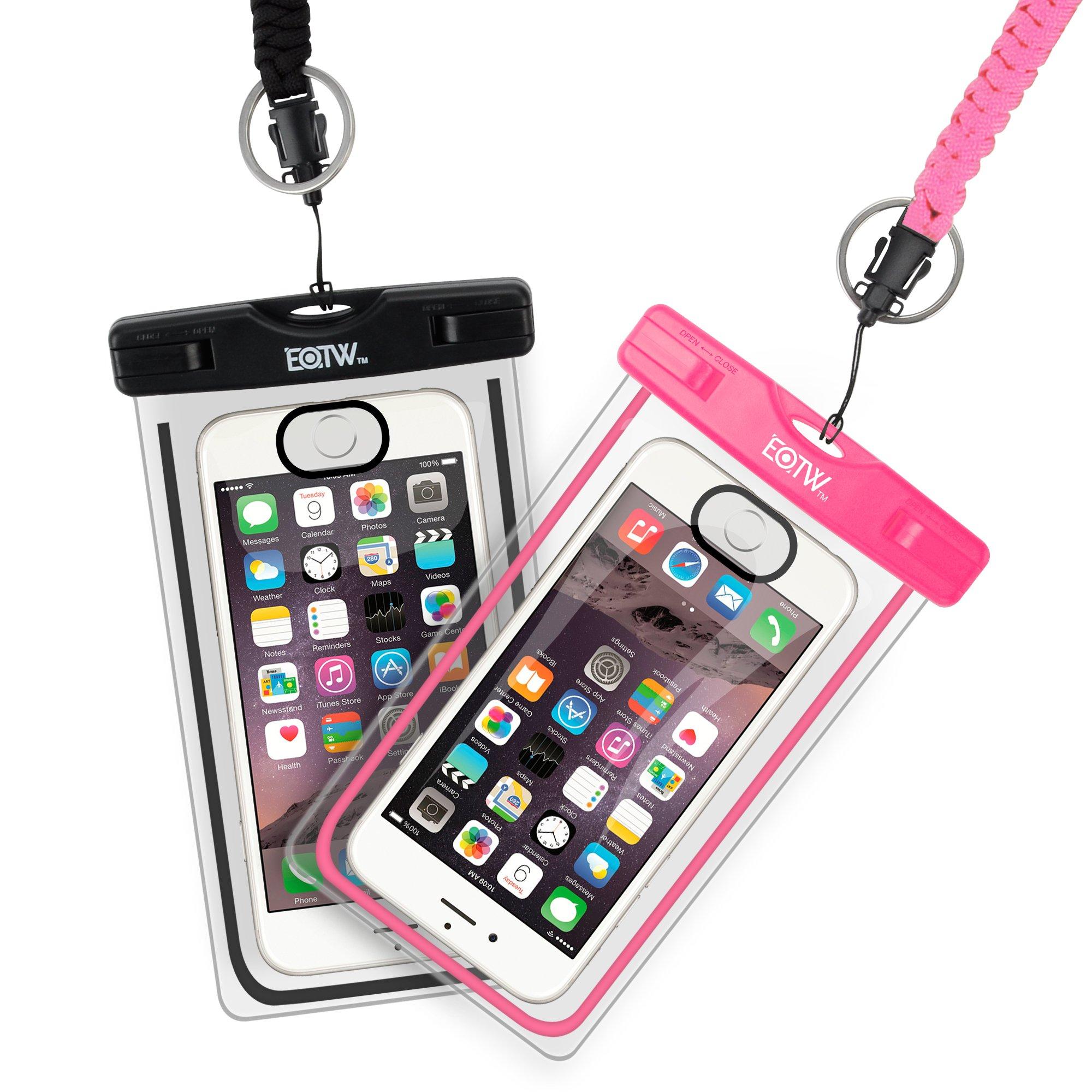 EOTW Waterproof Phone Pouch, Touch-ID Fingerprint Unlock Waterproof Phone Case for iPhone Xs Max XS XR X 8 8plus 7 7plus 6 6S 5 5S SE 5C up to 6.5'' (2 Pack Touch ID Function) by EOTW