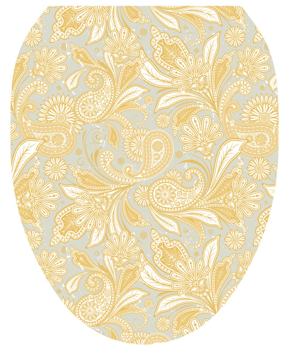 Toilet Tattoos TT-1034-O Antique Gold Paisley Design Toilet Seat Applique, Elongated