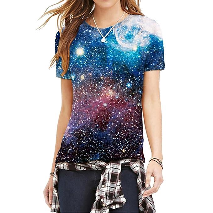 Jiayiqi 2016 Verano Más Nuevos Bling Galaxia Púrpura Camisas Cielo Estrellado Vogue Mujer De La Camiseta