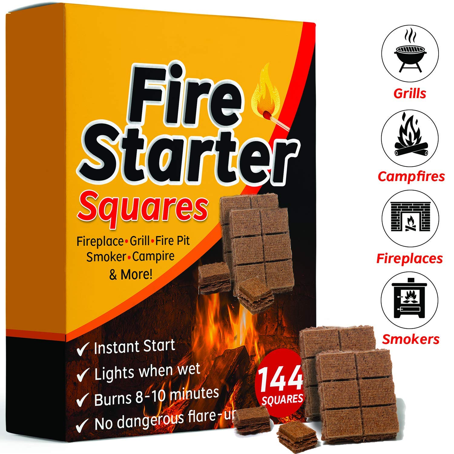 Bangerz Sunz Fire Starter Squares 144, Fire Starters for Fireplace, Wood Stove & Grill, Camp Fire Pit Charcoal Starters 50B, USA Made by Bangerz Sunz