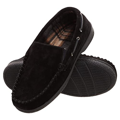 0c54ed0fa71 Heat Edge Mens Memory Foam Suede Slip On Indoor Outdoor Venetian Moccasin  Slipper Shoe