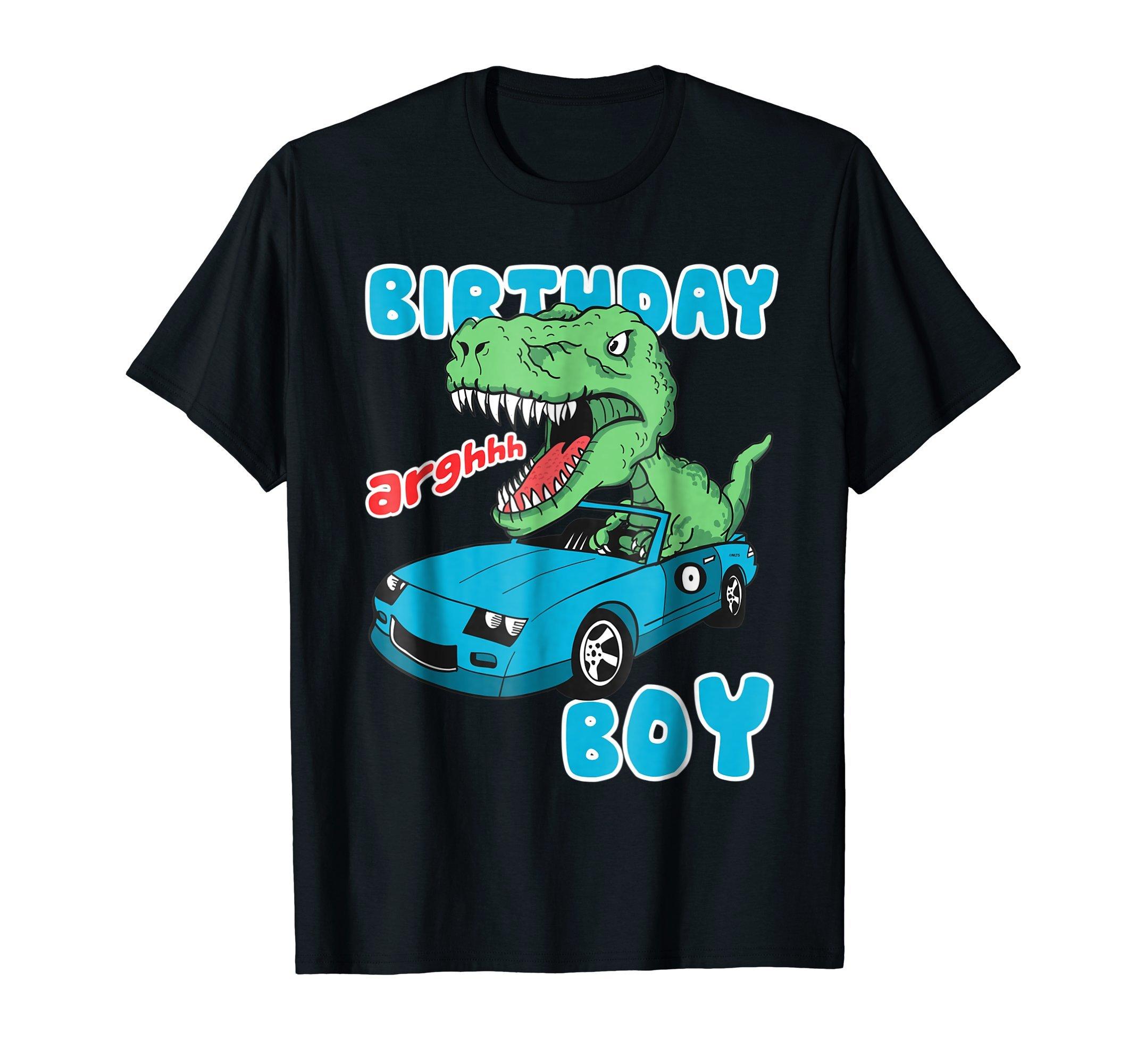 Dinosaur-Racer-Birthday-Boy-Birthday-Fun-Humor-T-Shirt-Tee