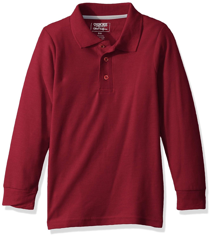 Cherokee School Uniforms Boys Heavyweight Long Sleeve Pique Polo