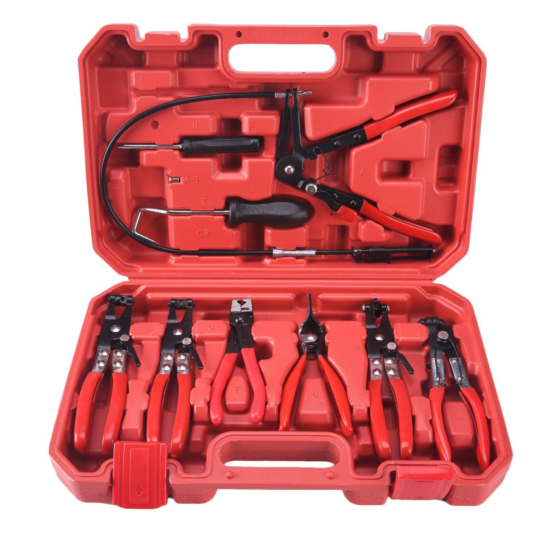 Huoqi 9PCS Hose Clamp Clip Pliers Set Kit Swivel Jaw Flat Angled Band Automotive Pliers Tool Kit