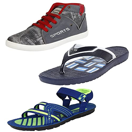 5a15b5915 ORICUM Men Combo Pack of 3 Sneakers Casual Shoes with Flip-Flop & Sandals: Buy  Online at Low Prices in India - Amazon.in