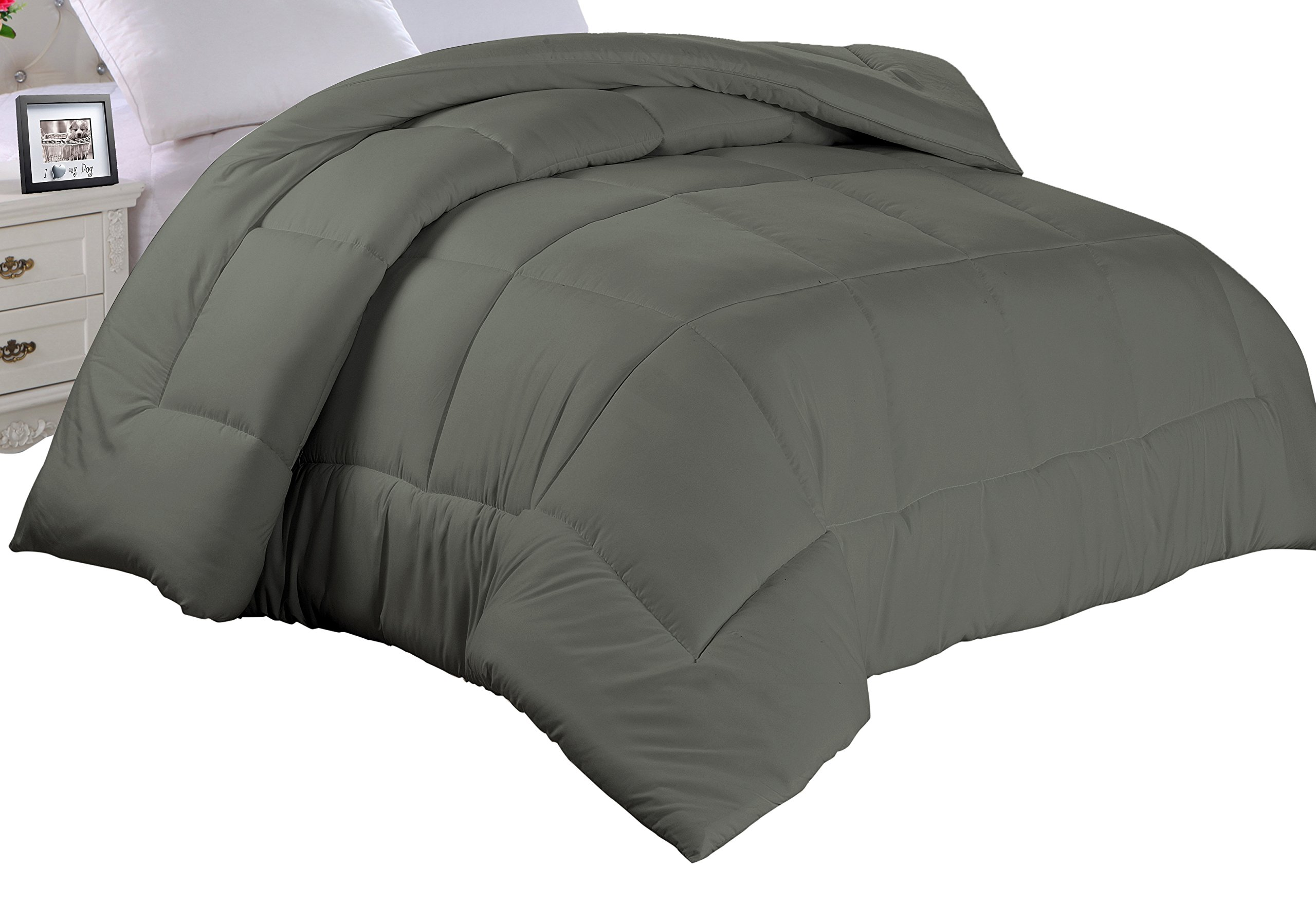 Cathay Home ADC-Gray-K Double Fill Gray Alternative Down Comforter