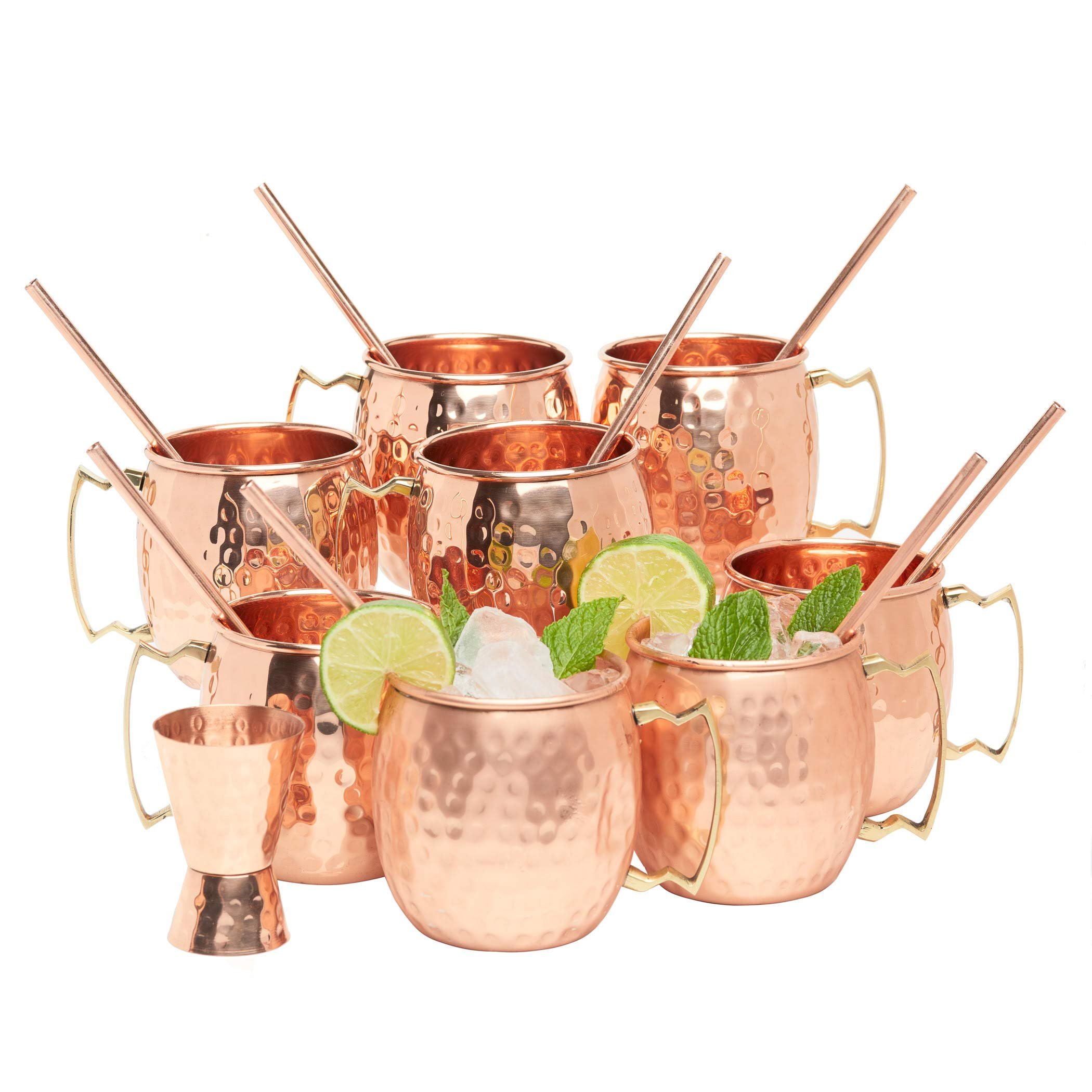 Kitchen Science Moscow Mule Copper Mugs 16 Ounce with 8 Straws and Jigger Set by Kitchen Science