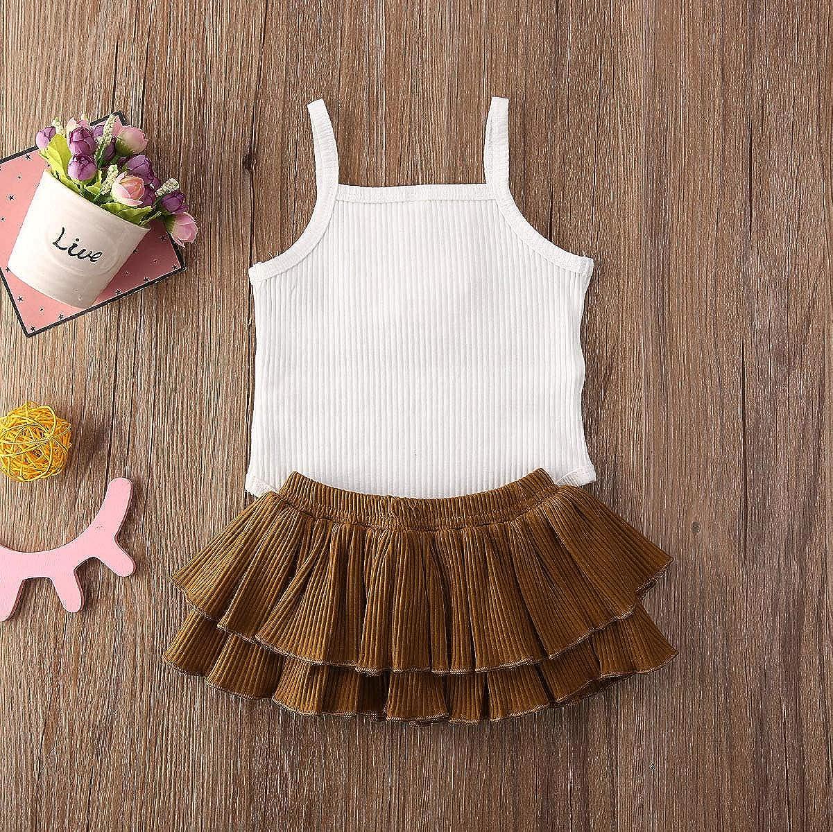 Newborn Baby Girls Button Sleeveless Crop Tops Shorts Pants Tutu Skirt Outfits 2pcs Clothes Set