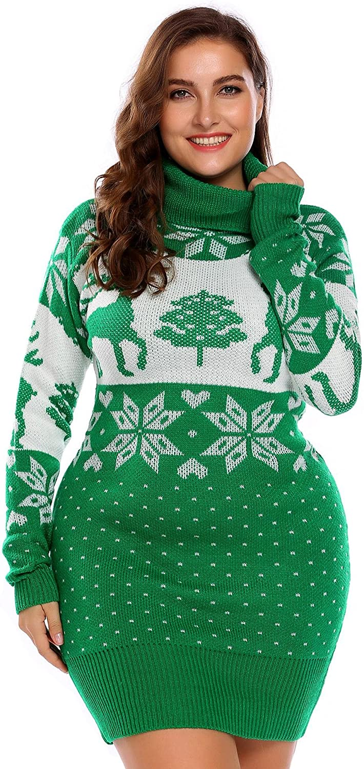 Plus Size Womens Christmas Reindeer Sweater Dress Ugly ...
