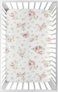 Sweet Jojo Designs Pink, Sage and White Floral Baby Girl Fitted Mini Portable Crib Sheet for Riley Roses Collection - for Mini Crib or Pack and Play ONLY