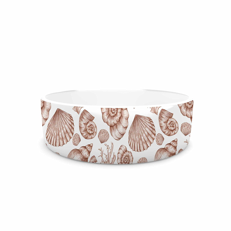 7\ KESS InHouse Alisa Drukman Seashells  Brown Nature Pet Bowl, 7
