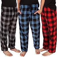 DG Hill (3 Pairs Mens PJ Pajama Pants Bottoms Fleece Lounge Sleepwear Plaid PJs with Pockets Microfleece