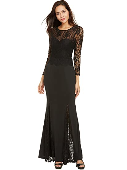 Sisjuly Womens Lace Evening Dresses A-line Backless Long Sleeve Prom Gowns 2 Black