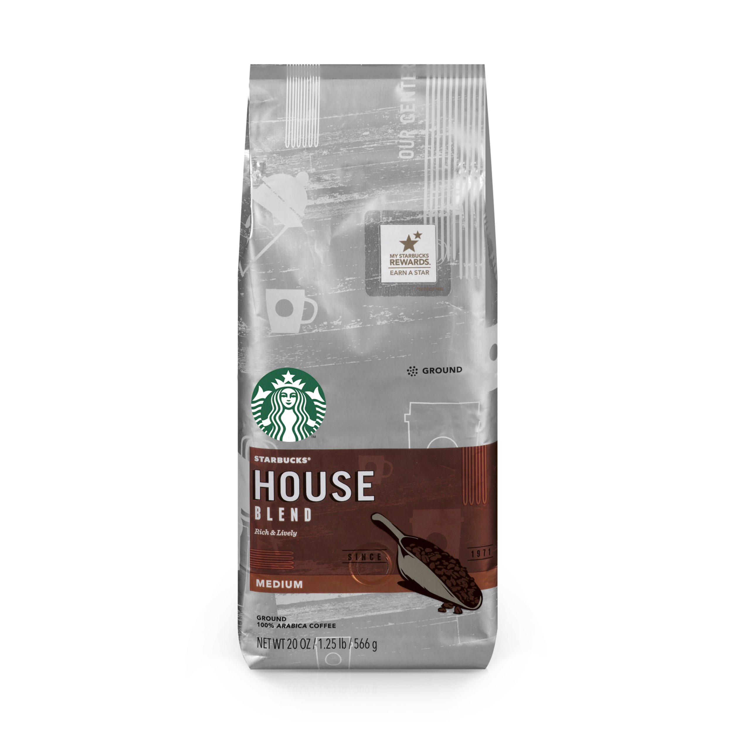 Starbucks House Blend Medium Roast Ground Coffee, 20-Ounce Bag