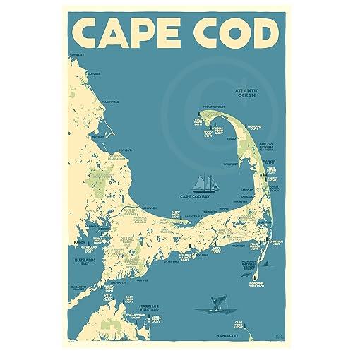 Cape Cod Florida Map.Amazon Com Cape Cod Map Massachusetts Print 24x36 Travel Poster