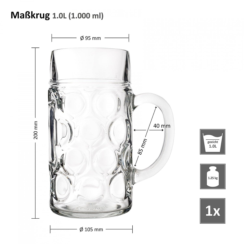 Van Well Jarra de cerveza (1 L calibrado, grande - Jarra de cerveza con asa, vidrio de cerveza Lavavajillas. Perfecto para gastronomía: Amazon.es: Hogar