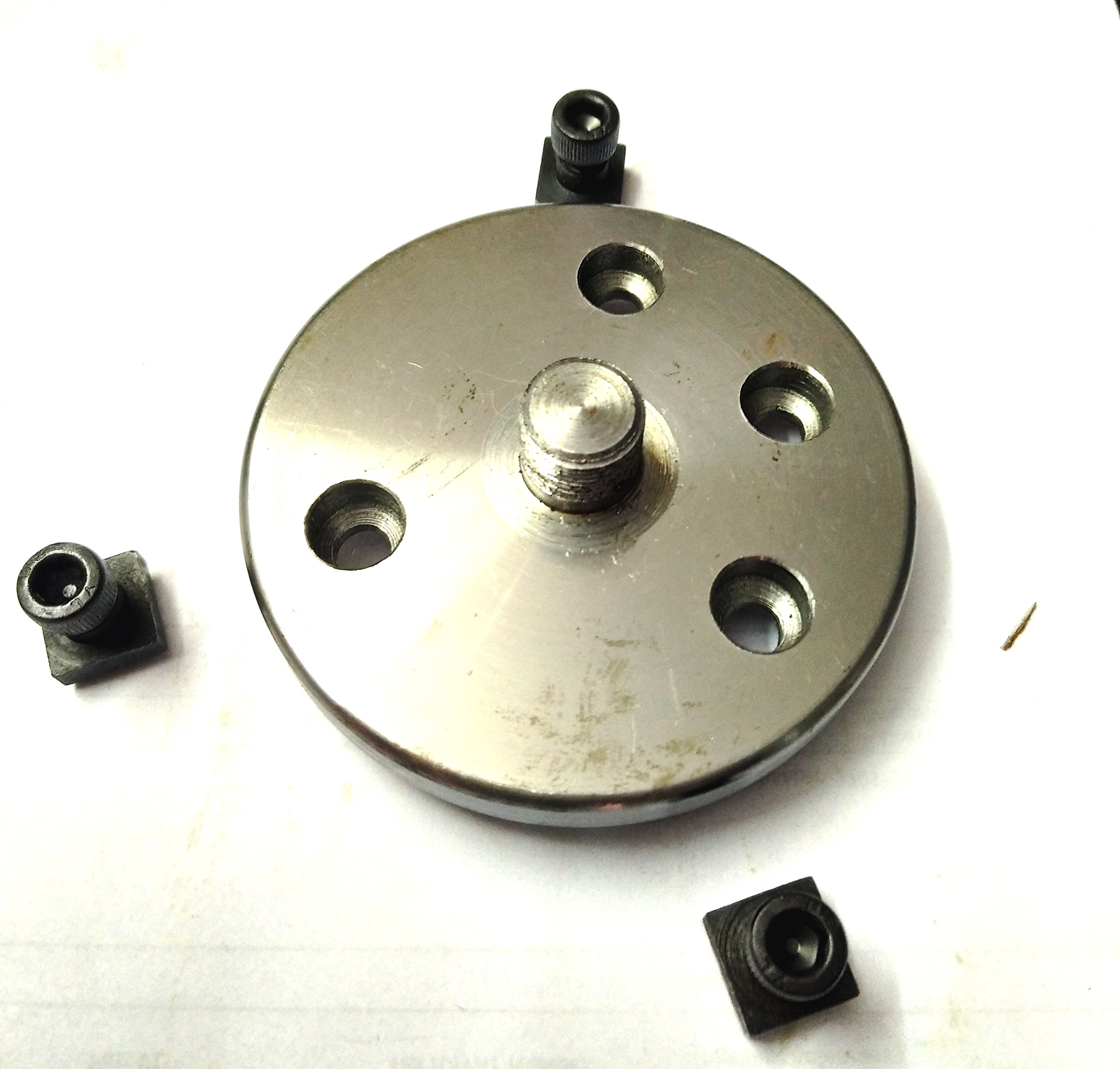 3'' Inches/80 mm Rotary Table & 65 mm 3 Jaws Self Centering Chuck+ steel Back Plate+ 3x M6 T-nuts Bolts-Metalworking, Engineering Indexing Milling Kit by Global Tools (Image #4)