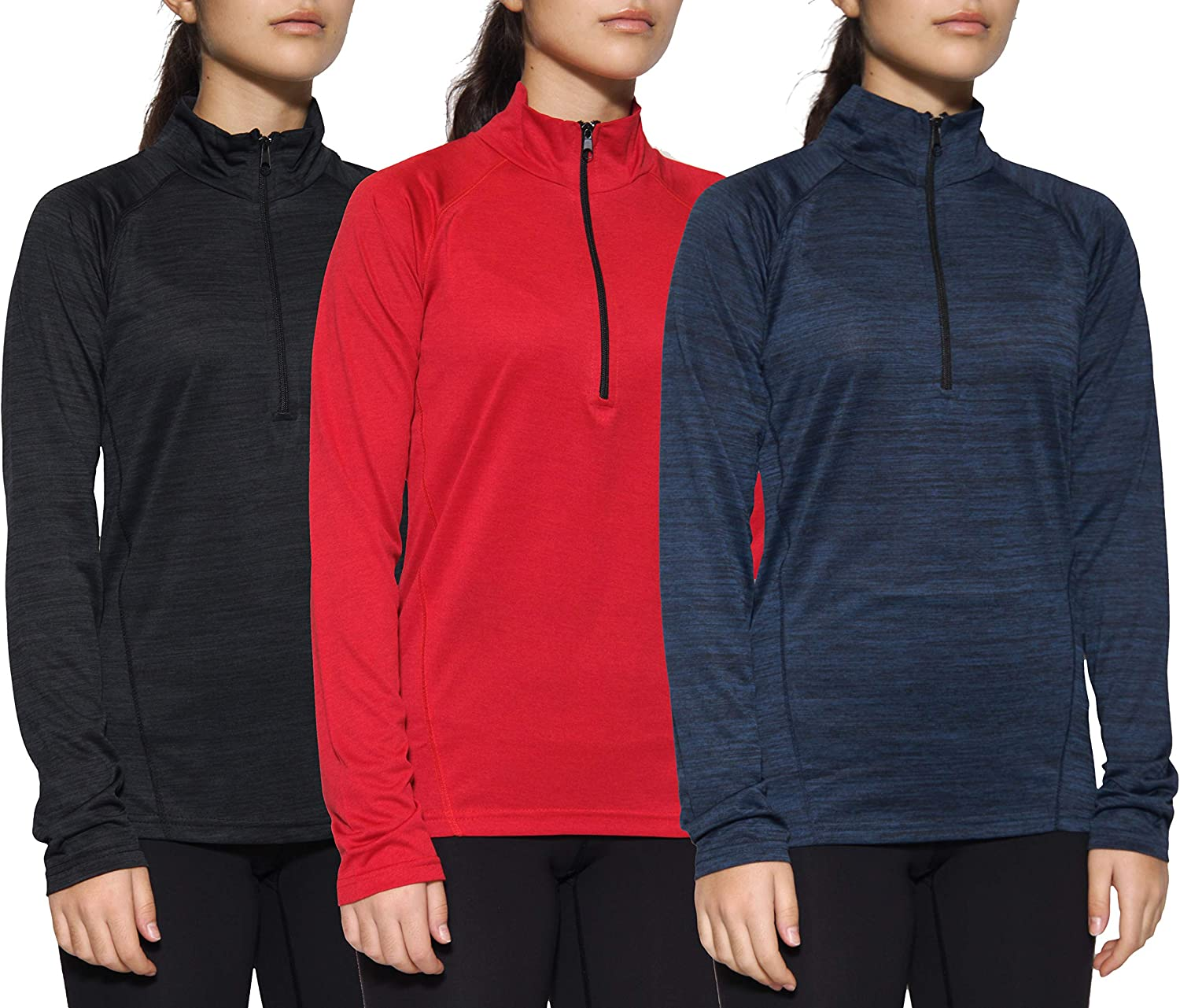 3 Pack: Women's Dry-Fit 1/4 Quarter Zip Pullover Active Athletic Running Yoga Workout Long Sleeve Shirt