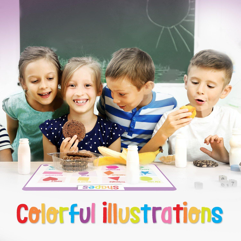 merka Educational Kids Placemats - Set of 4: Alphabet, Numbers, Shapes, Colors - Bundle - Non Slip & Washable by merka (Image #6)