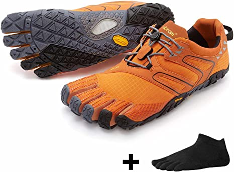 Vibram FiveFingers V de Trail Men – Set – Trail de correr de dedos guantes Calcetines de dedos con Gratis, Orange / Grey / Black: Amazon.es: Deportes y aire libre