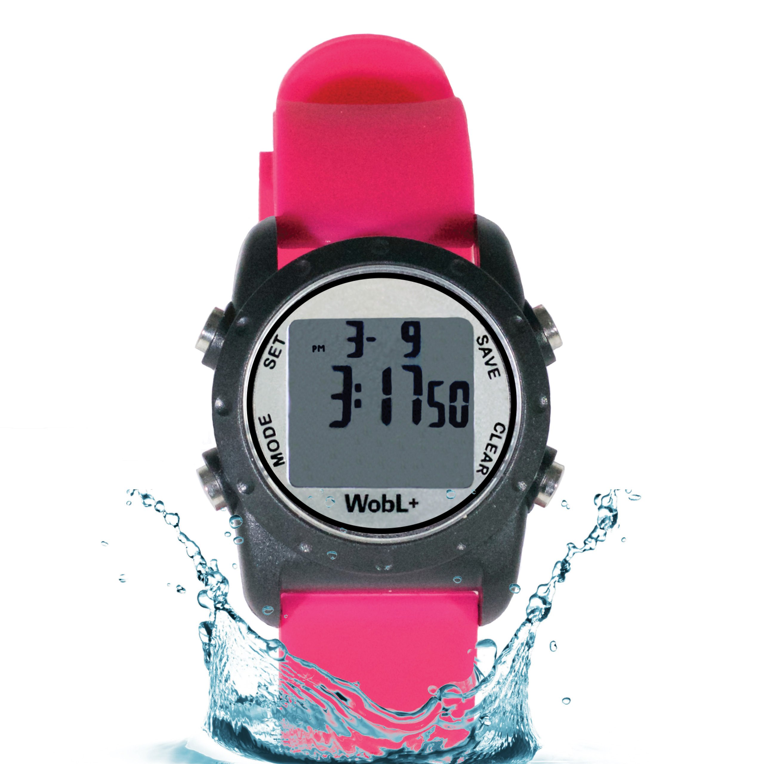 WobL+ Waterproof Vibrating Watch (PINK), 9 Alarms, Potty Reminder, Pill Reminder