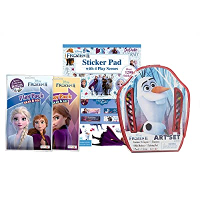 Frozen II Art Activity Pack: Includes Art Set, Sticker Pad with 1200 Stickers, 2 Resealable Coloring Play Packs, and Calendar Storage Bag: Toys & Games