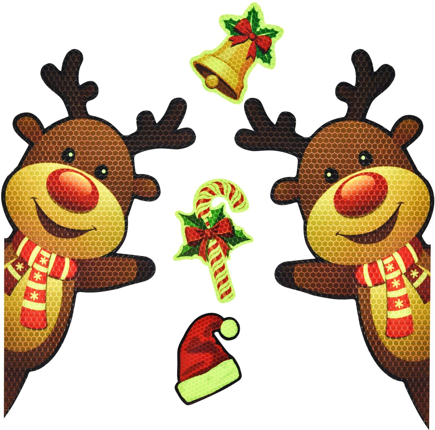 Bright Reflective Merry Christmas car Magnet Decorations Set,JumboWaving Reindeer Car Magnet Reflective Decal for Car Fridge Garage Mailbox Vehicle Truck Xmas Holiday Décor(Waving Reindeer), 5pack