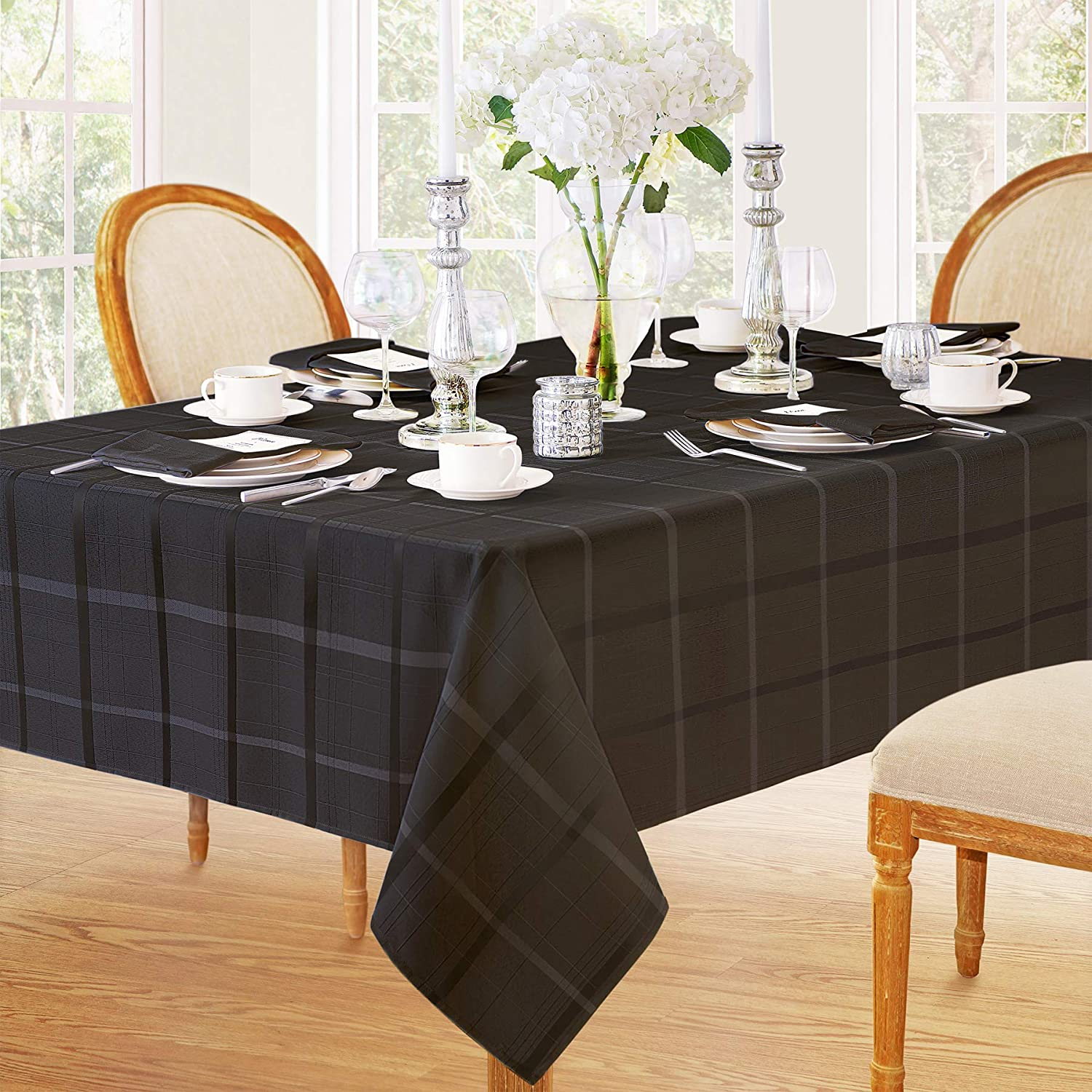 Elegance Plaid Contemporary Woven Solid Decorative Tablecloth by Newbridge, Polyester, No Iron, Soil Resistant Holiday Tablecloth,60 X 84 Oblong, Black