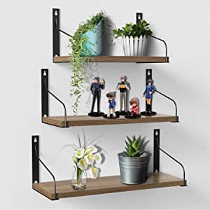 Floating Shelves Wall Mounted Set of 3, Rustic Paulownia Wood Wall Storage Shelves for Bathroom, Living Room, Bedroom, Kitchen Carbonized Black