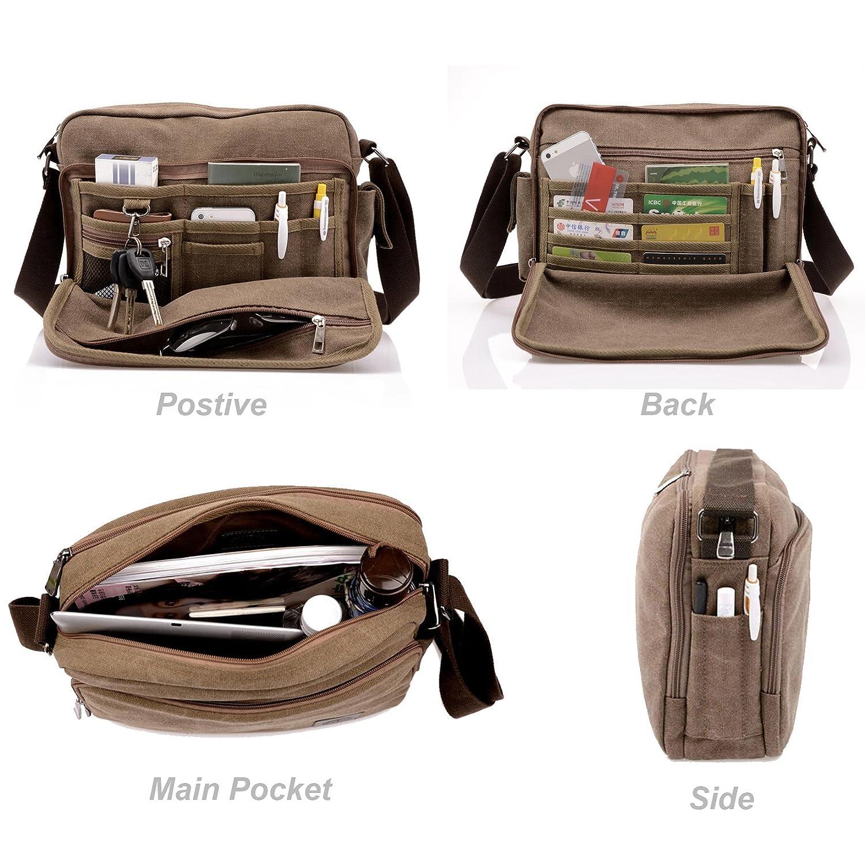 Topfox Mens Multifunctional Canvas Messenger Handbag Outdoor Sports Over Shoulder Crossbody Side Bag