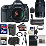 Canon EOS 5D Mark III Digital SLR Camera with EF 24-105mm L IS & 75-300mm III Lens + 64GB Card + Grip + Battery & Charger + Case + Tripod + Kit