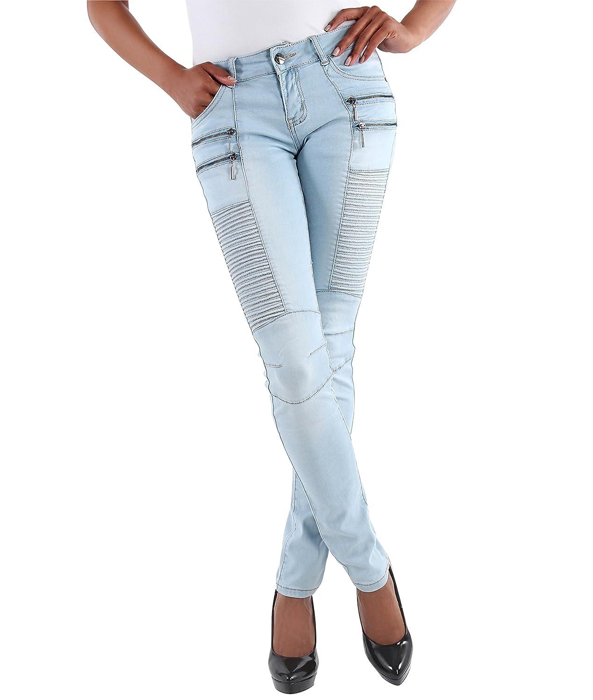 Womens Skinny Biker Jeans Ladies Slim Fit Ribbed Blue Trousers Size6 8 10 12 14