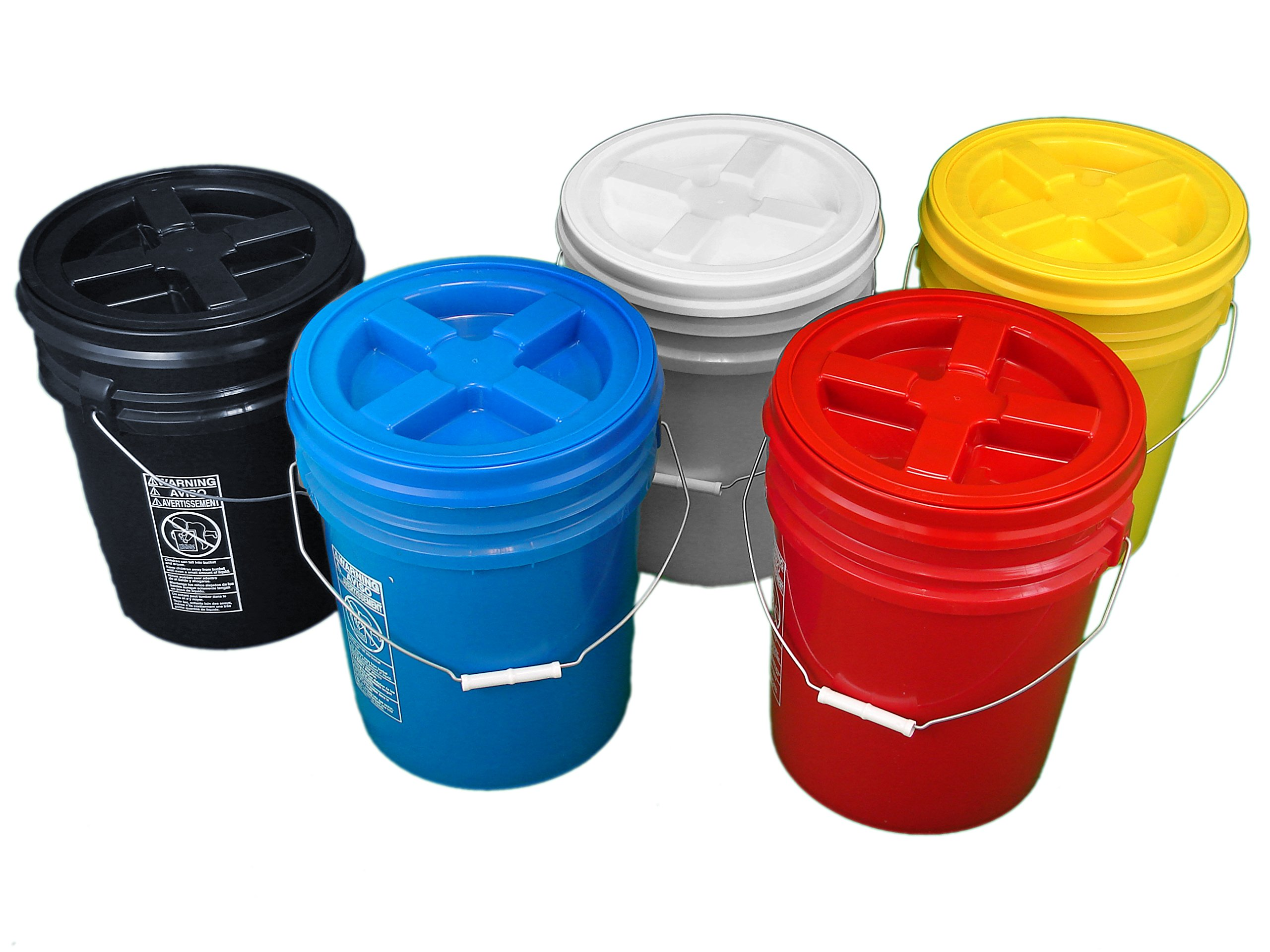 Bucket Kit, Five Colored 5 Gallon Buckets with Matching Gamma Seal Lids (one each: blue, red, yellow, white, black)