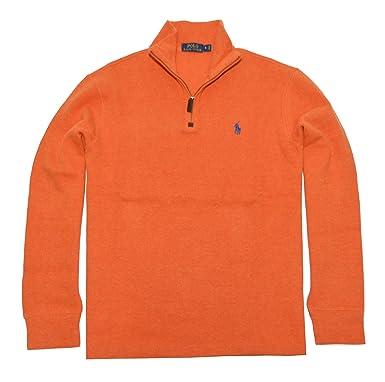 b8b3f9dc4f89fd Polo Ralph Lauren Mens Half Zip French Rib Cotton Sweater (Large, College  Orange) at Amazon Men s Clothing store: