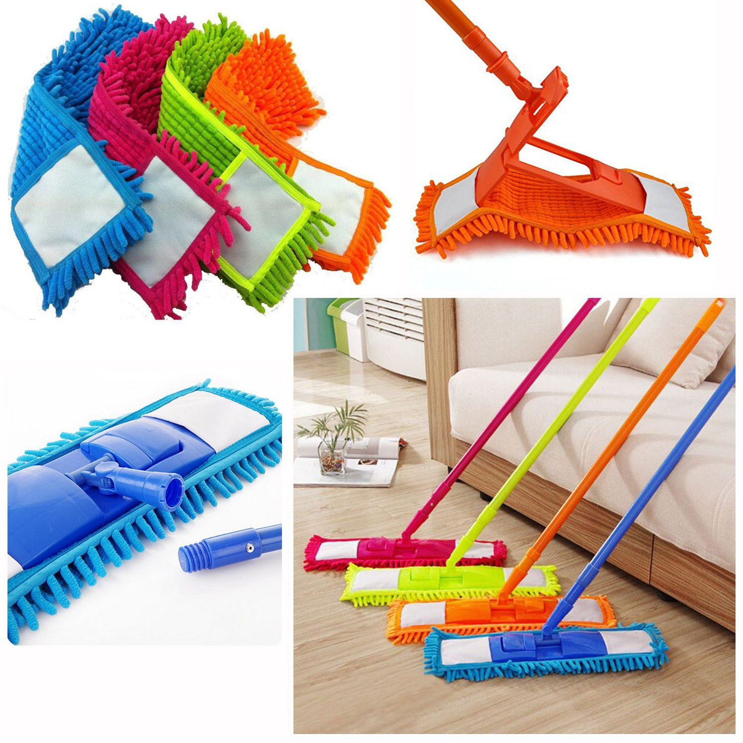 Panni di ricambio per mocio in microfibra, lavabili, per pulire i pavimenti e per spolverare, torcia a LED gratuita inclusa BLUE Mop GETTIT