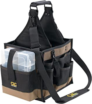 """CLC Custom LeatherCraft 1528 Large Electrical and Maintenance Tool Carrier, 22 Pocket , Black , 11"""" x 10"""" x 19""""h"""