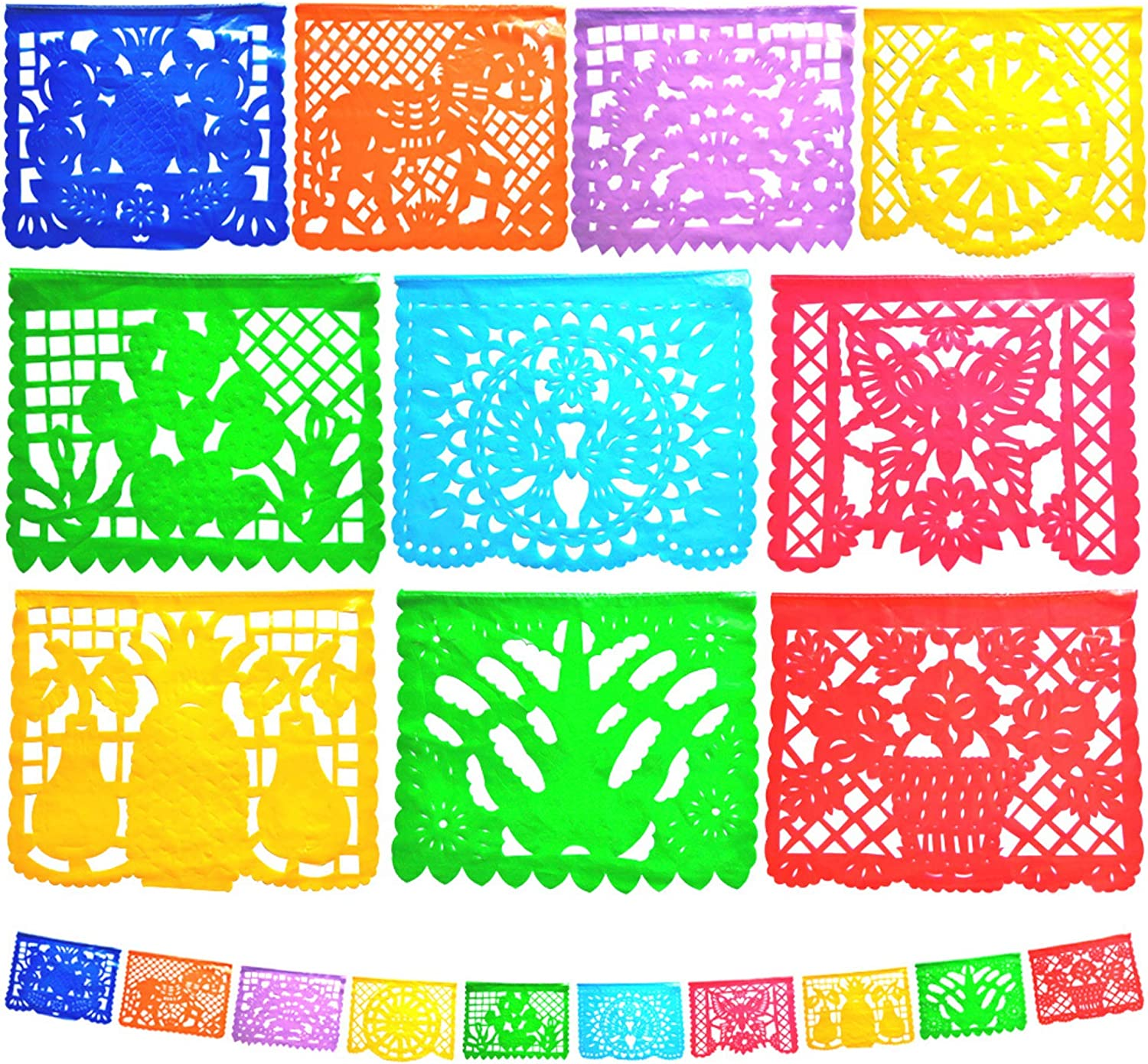 Papel Picado -2 PACK- Large Mexican Fiesta Banner Mexican Party Decorations 20 Plastic Panels -Flags Fiesta Deco Garland Supplies -Handmade