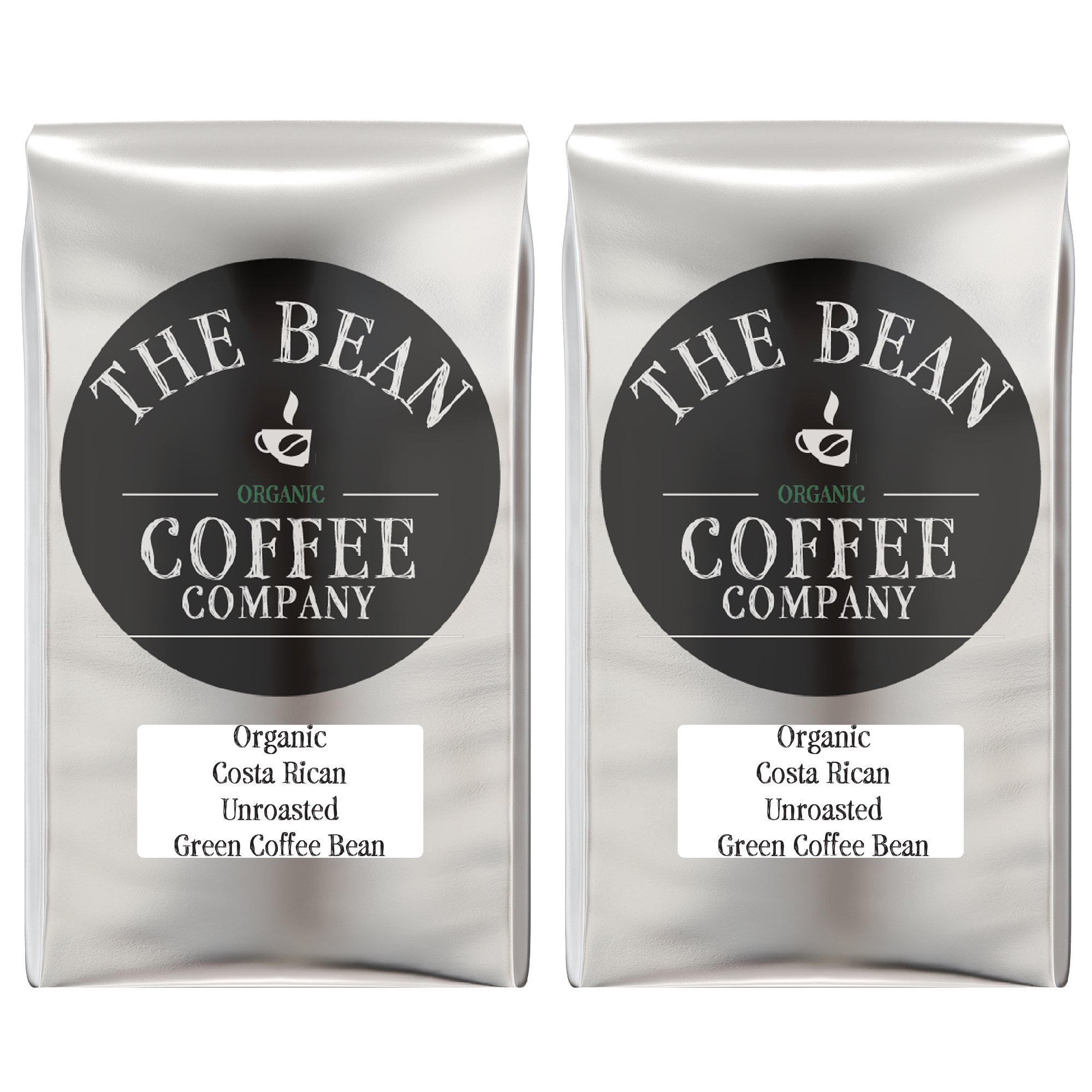 The Bean Coffee Company Organic Unroasted Green Coffee Beans, Costa Rican, 16-Ounce Bags (Pack of 2)